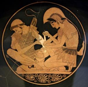 Achilles förbinder Patroklos' sår