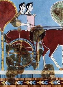 Stridsvagn från fresk i Tiryns